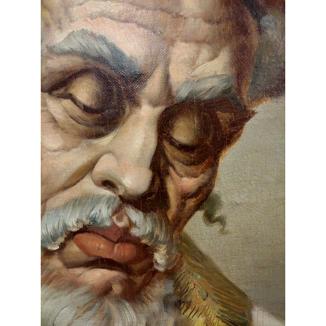 1950s Lajos Polczer - Portrait of a Patriarch Rabbi -Oil Painting For Sale - Image 5 of 10