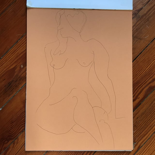 "Line drawing of nude by artist Alice Houston Miles, 2013. Pen on toned paper. Measures 12"" x 16"", Item comes shipped in..."