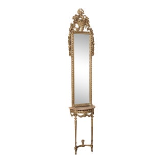 19th Century Hand-Carved Italian Louis XVI Gild Wood Mirror & Marble Top Console