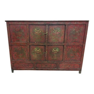 Red Dragon Antique Large Tibetan Chest For Sale