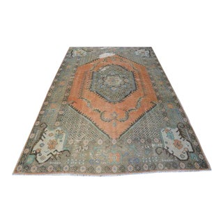 1960s Vintage Turkish Oushak Faded Area Rug - 5′8″ × 9′4″ For Sale