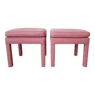 Parsons Ottomans in the Style of Milo Baughman - A Pair For Sale