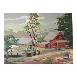"Vintage Painting of Landscape ""Lakeside Cabin in Countryside"""