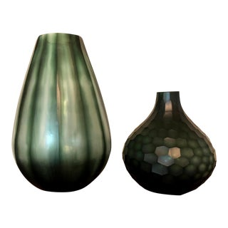 Wildwood Pod & Fig Green Glass Vases - A Pair For Sale