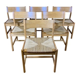 Børge Mogensen Bm2 Oak & Papercord Dining Chairs, Denmark 1960s For Sale