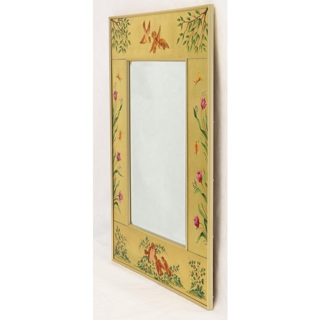 Glass Reverse Painted Gold Leaf Rectangular Frame Decorative Mirro For Sale - Image 7 of 13