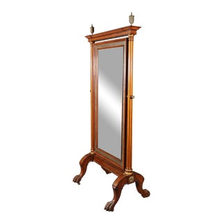 French Regency Style Inlaid Cheval Mirror For Sale