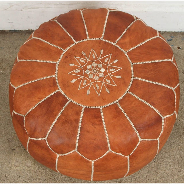 Late 20th Century Late 20th Century Vintage Moroccan Handcrafted Leather Camel Ottoman For Sale - Image 5 of 7