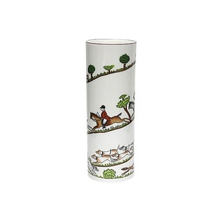 English Hunting Scene Flower Vase For Sale