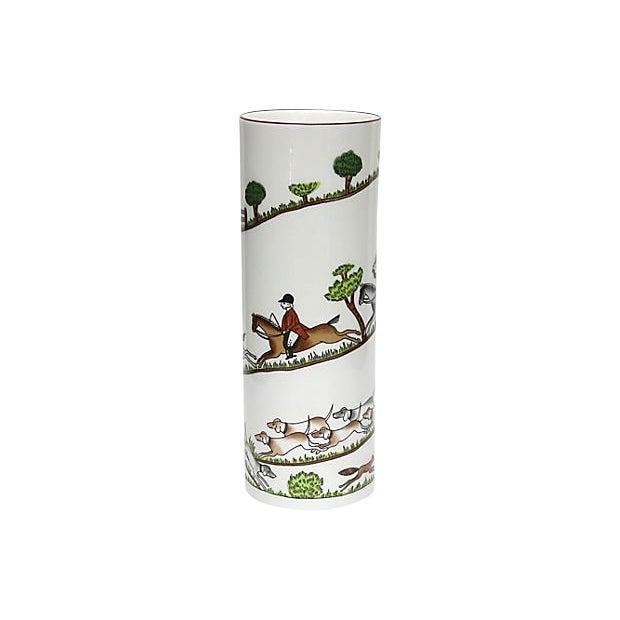 English Hunting Scene Flower Vase For Sale