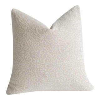 Snow Leopard Chenille Pillow Cover 18x18 For Sale