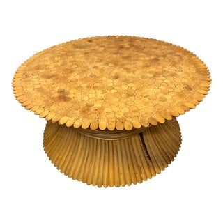 Round McGuire Style Bamboo Coffee Table For Sale