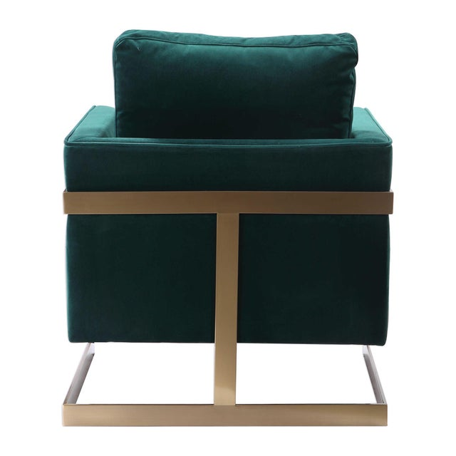 One beautiful comfy chair featuring down wrapped foam cushions . The fabric is nylon velveteen. The iron wrap around frame...