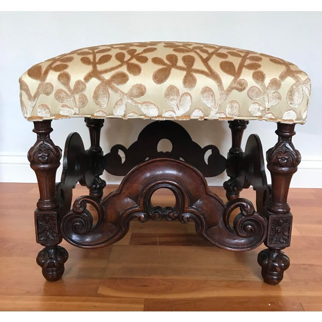 Charles II Style English Jacobean Tutor Mahogany Footstool Upholstered in Beacon Hill Sommer Sonata - a Pair For Sale - Image 4 of 13