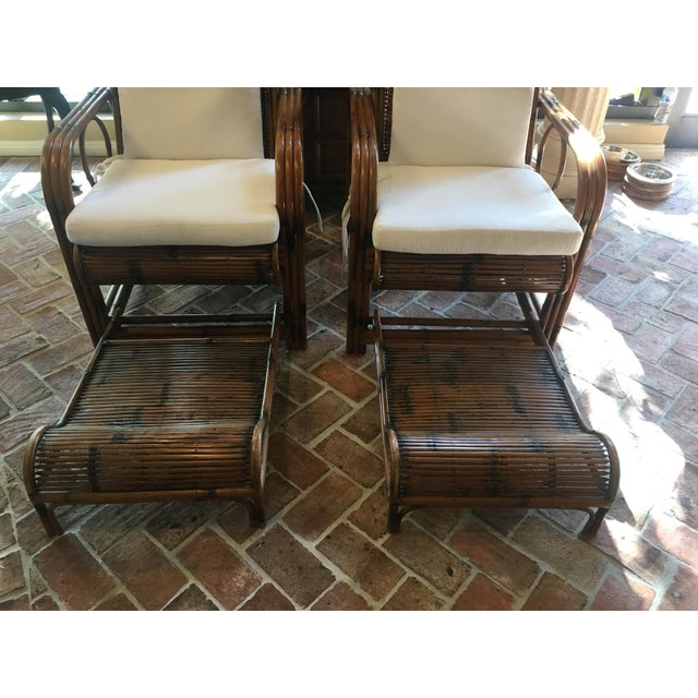 1920s Vintage French Indochina Bamboo Lounge Chairs- A Pair For Sale - Image 4 of 12