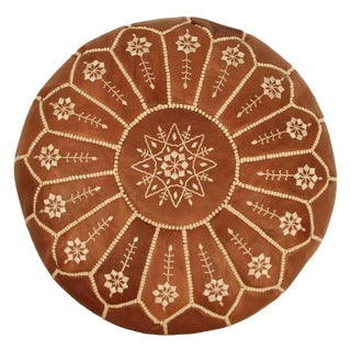 Embroidered Leather Pouf, Chestnut Starburst Stitch For Sale