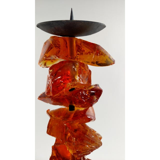 Murano Amber Glass Candlestick - Image 7 of 7