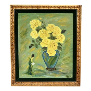 1960s Vintage Geisha With Yellow Roses Framed Painting For Sale