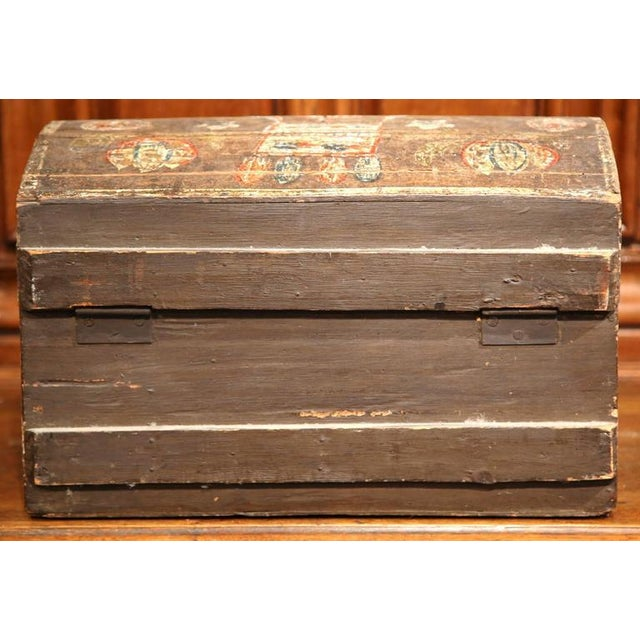 18th Century French Painted Bird Motif Trunk - Image 8 of 8