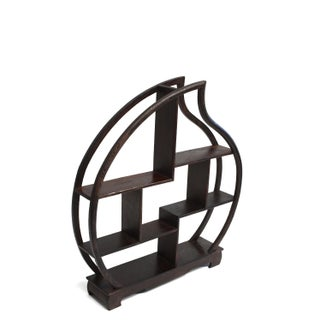 Small Wenge Wood Display Stand, Mini Shelf, Peach Shape Preview
