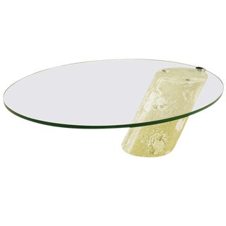 Marble and Cantilever Oval Glass Coffee Table in the Manner of Brueton For Sale