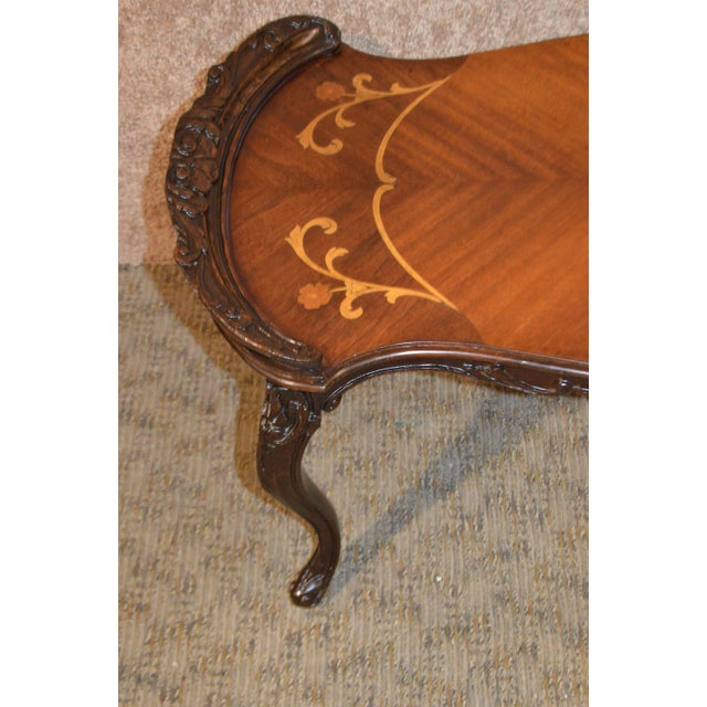 Vintage French Style Carved & Inlaid Petite Cocktail Table For Sale In Philadelphia - Image 6 of 11