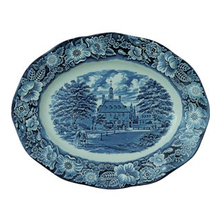 Staffordshire Ironstone Blue & White Serving Platter