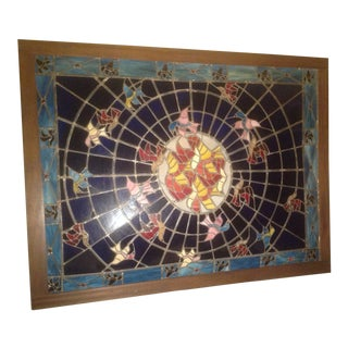 1960s Vintage Stained Glass Window For Sale