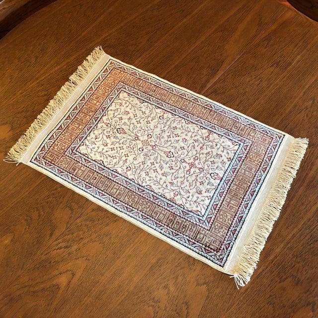 Silk on Silk Small Turkish Kayseri Handmade Rug For Sale In Seattle - Image 6 of 13