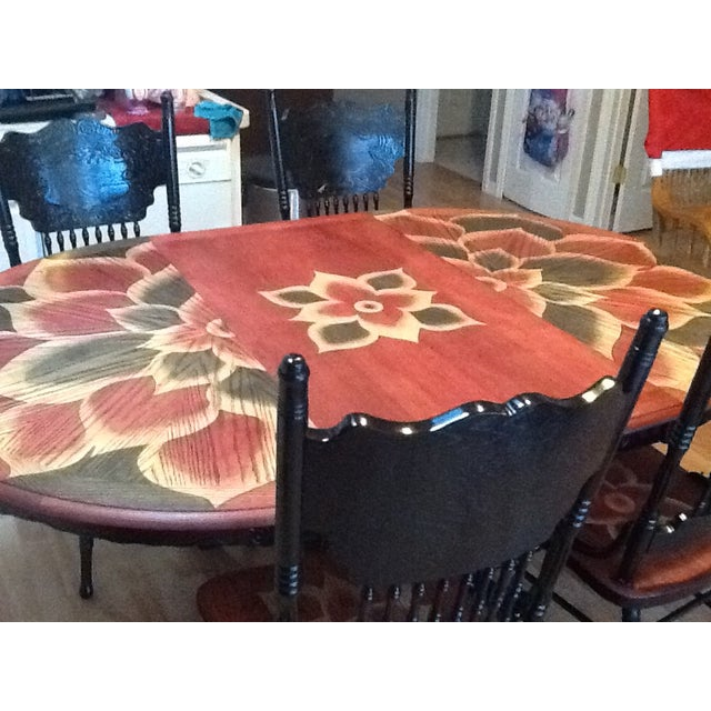 Wood Stain Art Dining Table Set - Image 4 of 7