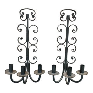 Vintage Rustic Black Candelabra Sconces - a Pair For Sale
