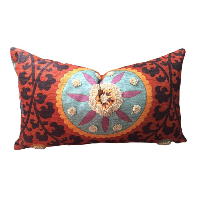 Bohemian Embroidered Orange Pillow Cover - Image 1 of 9