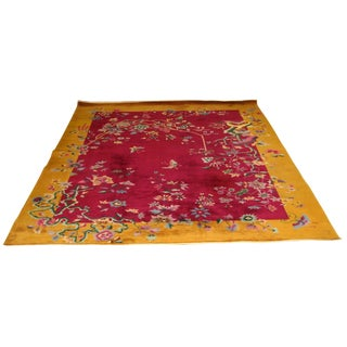 Art Deco Chinese Massive Large Nichols Floral Area Rug - 8′8″ × 11′6″ For Sale