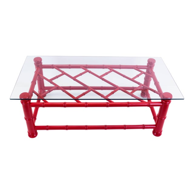 Palm Beach Style Coral Red Coffee Table For Sale