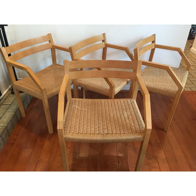 Amazing J L Moller Danish chairs. Stamped and labeled - made in Denmark. All in very good condition. No rips or tears,...