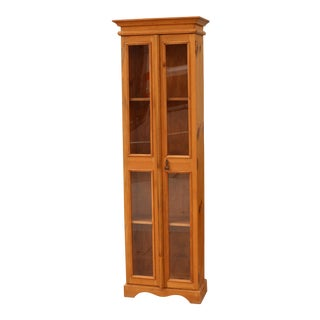 Farmhouse Style Tall Skinny Display Cabinet For Sale