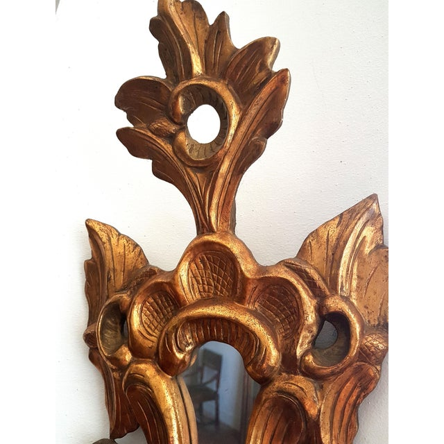 Wood 1920s French Neoclassical Gilt Wood Small Wall Mirrors - a Pair For Sale - Image 7 of 8