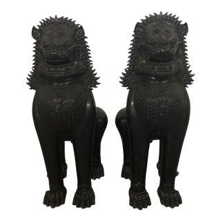 Vintage Black Painted Metal Foo Dogs - a Pair For Sale