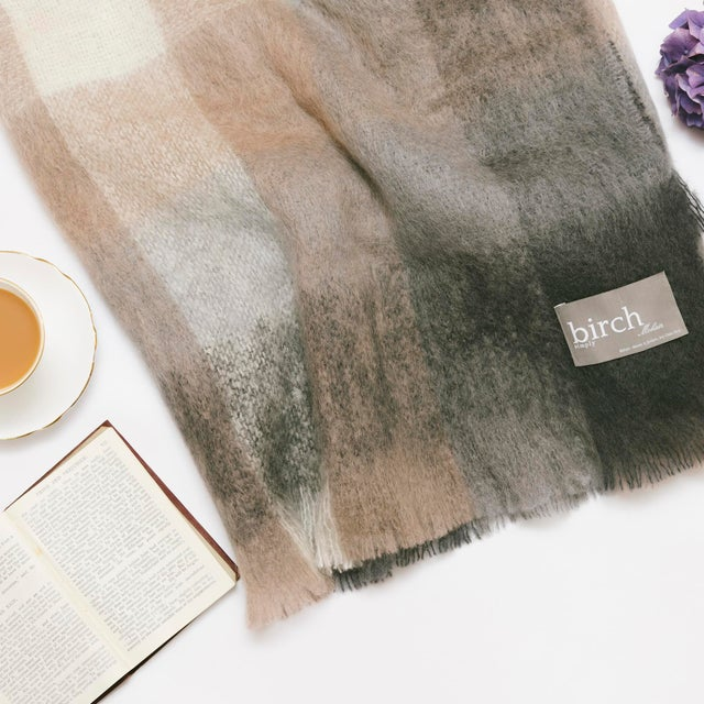 Charcoal White & Mink Check Mohair Throw For Sale - Image 4 of 10