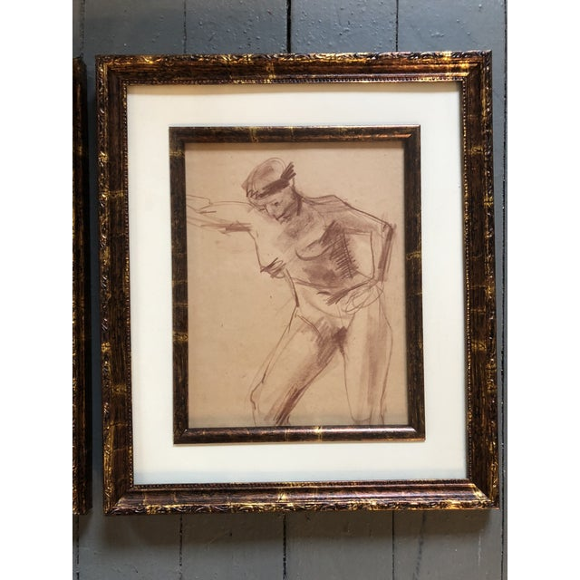Abstract Expressionism Vintage Original Female Nude Sepia Study Drawings a Pair For Sale - Image 3 of 5
