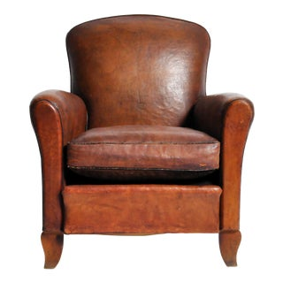 French Art Deco Leather Club Chair with Piping and Original Patina