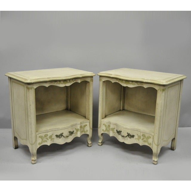 John Widdicomb Country French Provincial Cream Paint Nightstands - a Pair For Sale - Image 13 of 13