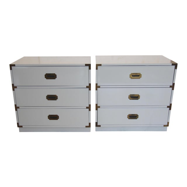Bernhardt Campaign Lacquered Chests - A Pair For Sale