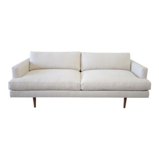 Custom Modern Square Arm Sofa in Natural Linen With Down Wrapped Seats For Sale