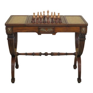 Maitland Smith Leather Top Mahogany Games Table