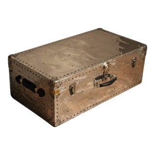 1940s Polished Aluminium Steamer Trunk For Sale
