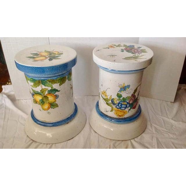 "Tuscan ""Pair"" of Massive Glazed Terra Cotta Urns on Pedestals For Sale - Image 3 of 13"