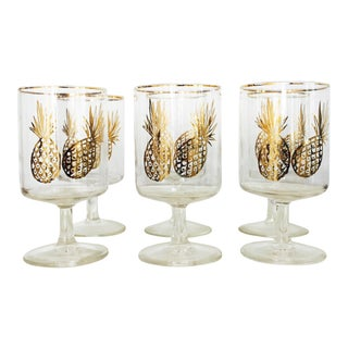 Mid Century Gold Pineapple Wine Glasses - Set of 6
