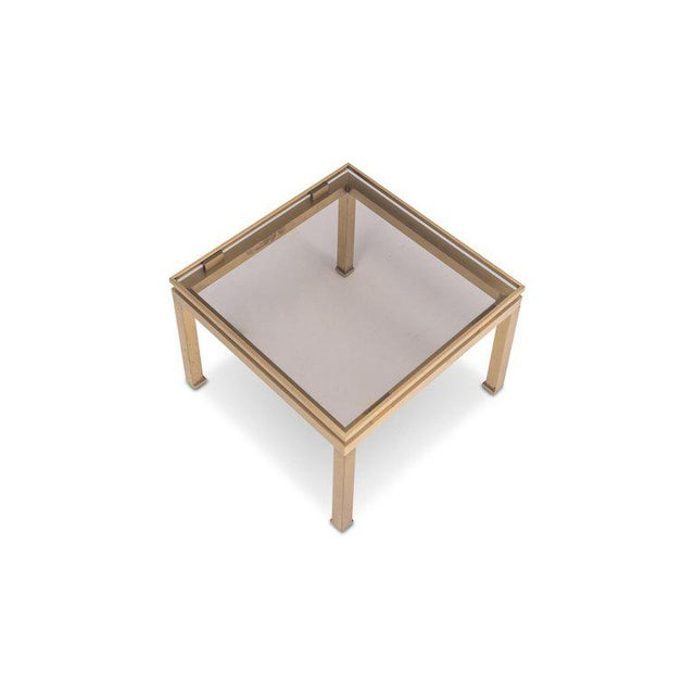 Brass Guy Lefevre Side Tables in Brass and Smoked Glass for Maison Jansen For Sale - Image 7 of 10