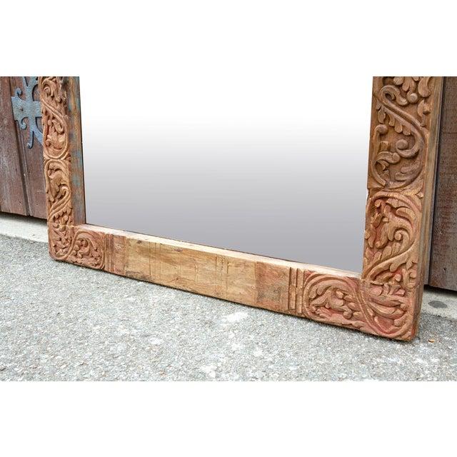 Antique Primitive Fleur De Lis Carved Mirror For Sale - Image 9 of 11